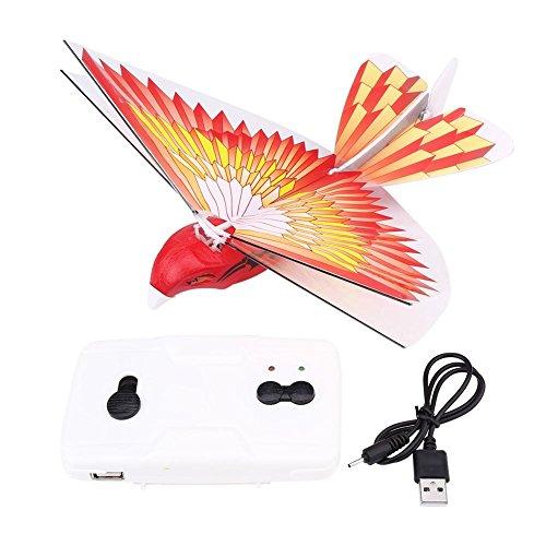RC 2.4GHz フライングバード 鳥 玩具 LED リモートコントロール ドローン  ヘリコプター 面白い こども キッズ USB充電 レッドカラー