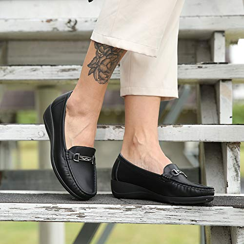 Uso Zapatos Mocasines Black Comodos Mujer Y Cuña Para Diario Oficina Adecuado Plataforma Planos Invierno Negros xrqw7TXx