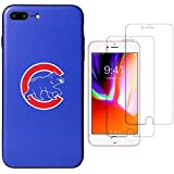 "Sportula MLB Phone Case matching 2 Premium Screen Protectors Extra Value Set - for iPhone 7 Plus/iPhone 8 Plus (5.5"") (Chicago Cubs)"
