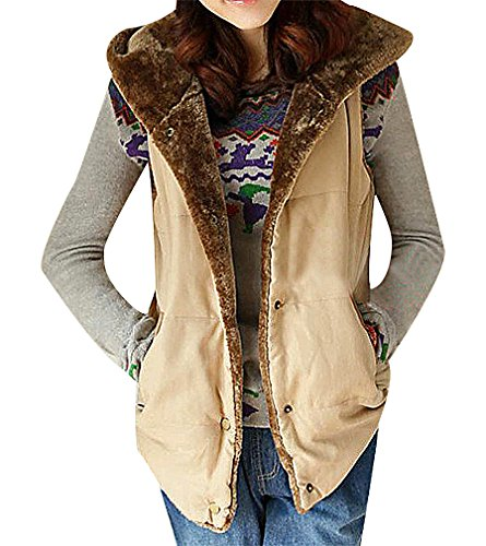Maze, Women's Button Up Quilted Plush Lining Contrast Details Warm Hooded Vest, Ivory L ,Manufacturer(XL)