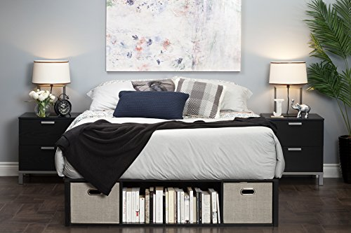 This platform bed with cubbies is a space spacing bed idea for small bedrooms