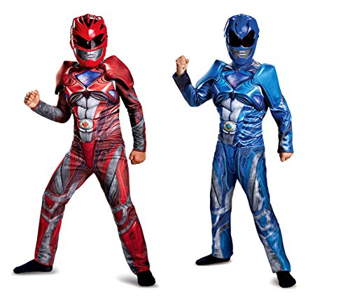 Mozlly Value Pack - Power Rangers Blue Costume-S 4-6 AND Red Costume-L 10-12