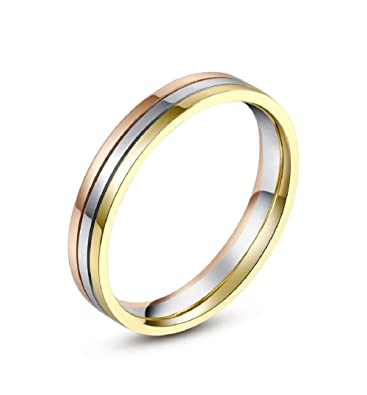 18K Rose White And Yellow Gold TriColor Three Band Women Wedding