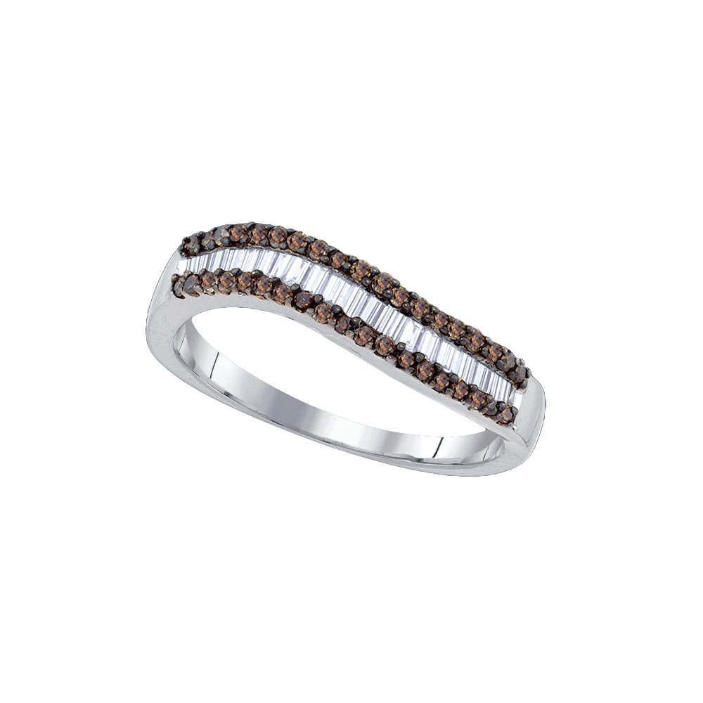 Silver Beautiful Baguette Brandy Diamond Chocolate Brown Band Ring 5/8 Ctw.