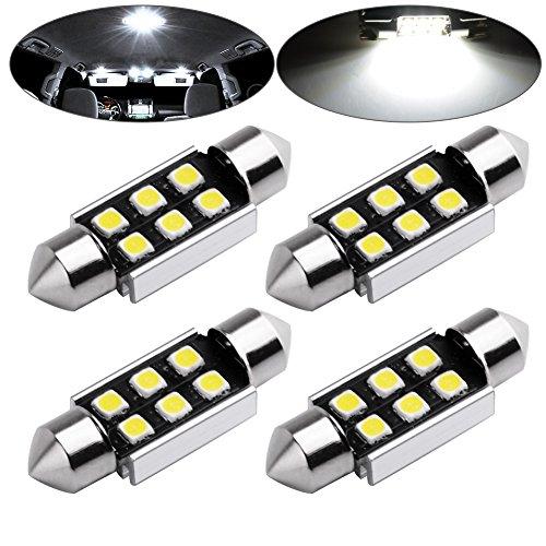 LEDKINGDOMUS 4x 36mm Festoon 3030 6-SMD No Polarity High Power 1W LED Bulbs for Interior Dome Map Trunk Cargo Area Lights-White