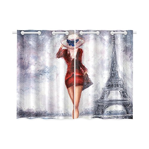 InterestPrint Blackout Window Curtains Paris Eiffel Tower Room Bedroom Home Short Drapes Curtains 52X39 Inch (Short Paris)