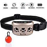 Bark Collar [2018 Upgrade Version] 7 Sensitivity Rechargeable Dog Barking Collar Beep/ Vibration/ Safe Shock or No/ Anti Bark Reflective Collar for Small Medium Large Dogs Bonus Cool Led Tag by KeVis