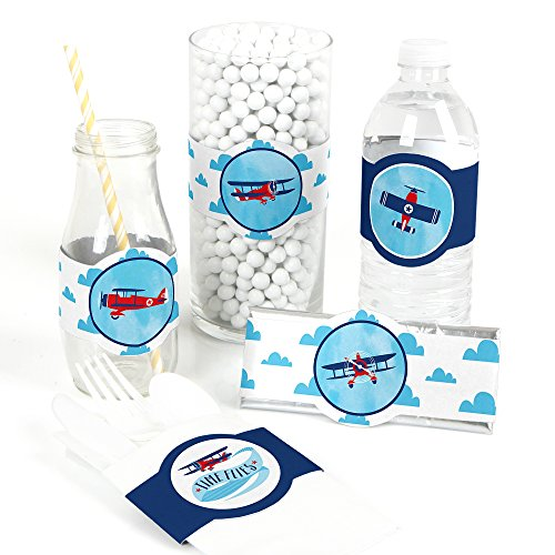 (Taking Flight - Airplane - DIY Party Supplies - Vintage Plane Baby Shower or Birthday Party DIY Wrapper Favors & Decorations - Set of 15)