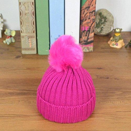 Sombrero de bebé,Tongshi Niño niña de punto sombrero suave encantadora de los Rosa caliente