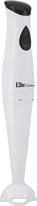 Elite Cuisine EHB-2425X Multi Purpose Electric Immersion Hand Blender Stick, Mixer, Chopper, 150 Watts One-Touch Control For Soups, Sauces, Baby Food, Removable Blending Stick for Easy Cleaning, White