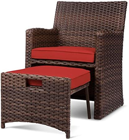 Halsted 5 Piece Wicker Small Space Patio Furniture Set Red Garden Outdoor Amazon Com