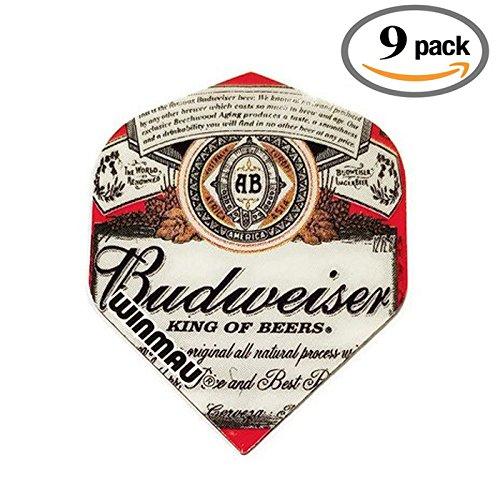 9 Pack Winmau Mega Budweiser King Of Beers 75 Micron Strong Dart Flights