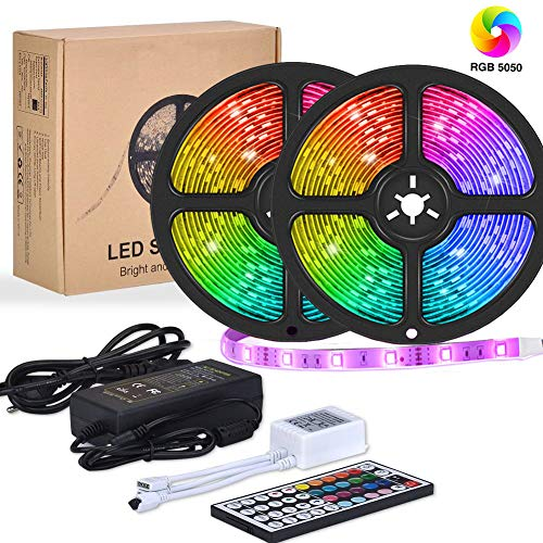 Flykul LED Strip Lights, 32.8ft/10m SMD 5050 RGB 300 LEDs IP65 Waterproof Light Strip Tape Light with 44-Key IR Remote Controller Double Sided Adhesive for Home Kitchen Room Decoration