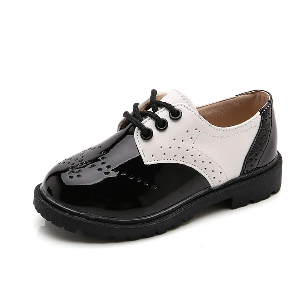 F-OXMY Boys Wing-Tip Shiny Oxfords Dress Shoes Lace-Up Comfort Casual Shoes (Toddler/Little Kid/Big Kid) Black & White