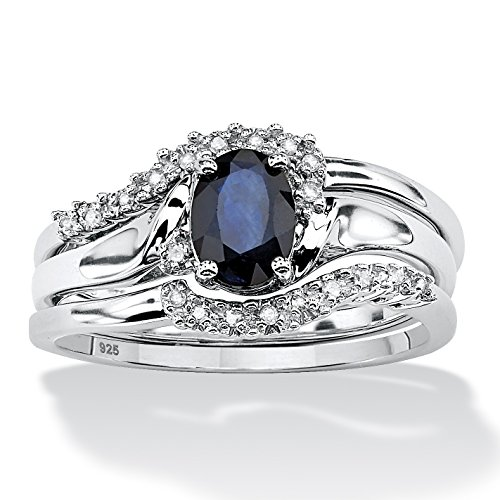 Blue Sapphire and Diamond Accent Platinum over .925 Sterling Silver 2-Piece Bridal Ring Set (Platinum Blue Sapphire Ring compare prices)