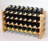 Modular Wine Rack Beechwood 32-96 Bottle Capacity 8 Bottles Across up to 12 Rows