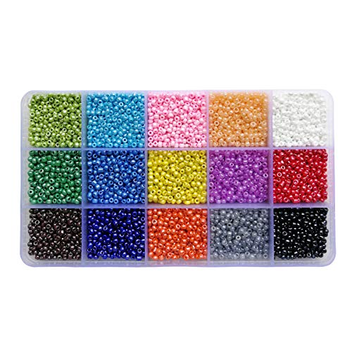 BALABEAD 7500pcs in Box 8/0 Mixed Colors Glass Seed Beads Opaque Colors Lustered Loose Spacer Beads, 3mm Round, Hole 1.0mm (500pcs/Color, 15 Colors)
