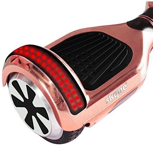 """Self Balancing Scooter (MAX 220 lbs), Skque I1.4 UL2272 Chrome 6.5"""" Smart Two Wheel Self Balancing Electric Scooter with Bluetooth Speaker with LED Lights, Rose Gold"""