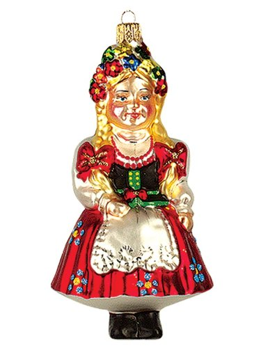 (Pinnacle Peak Trading Company Polish Girl Krakowianka Polish Glass Christmas Ornament Krakow Poland Decoration)