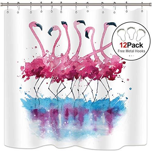 - Watercolor Pink Flamingo Shower Curtain Panel 12 Pack Free Metal Hooks Tropical Bird Animal Teal Blue White Woman Girl Waterproof Fabric Bathroom Home Decor 84