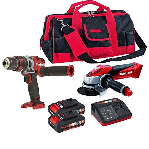 Esmerilhadeira, Furadeira, Bolsa e kit bateria einhell