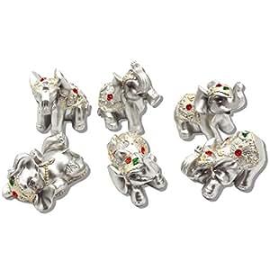 Dusky Seaside Sparrow Feng Shui Conjunto de 6pequeños Plateado Elefantes estatuas Riqueza Suerte Figuras de decoración para el hogar Regalo bs122(Plata), Plateado