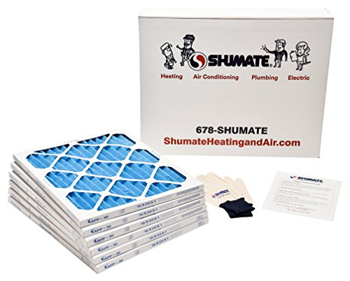 SHUMATE 16x20x1 AC and Furnace Air Filters Bundle: 6-Pak of MERV 8 Filters, 1 Set of SHUMATE Gloves and Installation Instructions