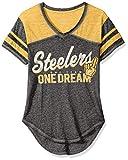 """NFL Junior Girls """"Vintage"""" Short Sleeve Football Tee, Pittsburgh Steelers, Black, XS(0-1)"""