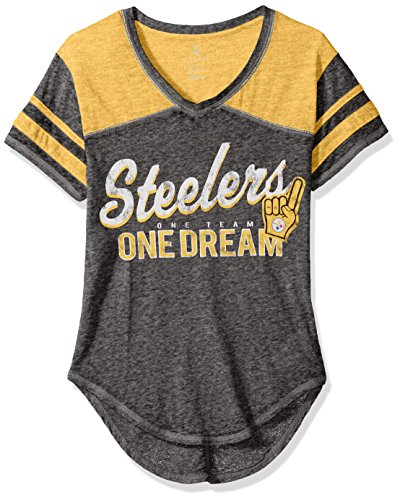 NFL Junior Girls Vintage Short Sleeve Football Tee, Pittsburgh Steelers, Black, ()
