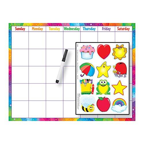 Trend Enterprises Reusable (Cling Accents) Wipe-Off Kit Monthly Calendar Grid (1 Piece), 17