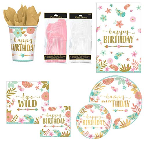 BOHO 2nd Birthday Party Supplies Pack for 16 Guests | Baby Girl Two Wild Theme (Standard ParteePak)