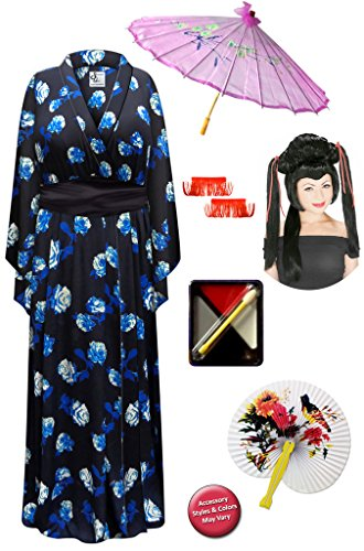 Blue Rose Geisha Robe Plus Size Costume Dlx Black/Red Ribbon Wig Kit 1x/2x