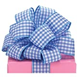 Blue Gingham Wired Ribbon #9 1.5'' X 20 Yards Florist