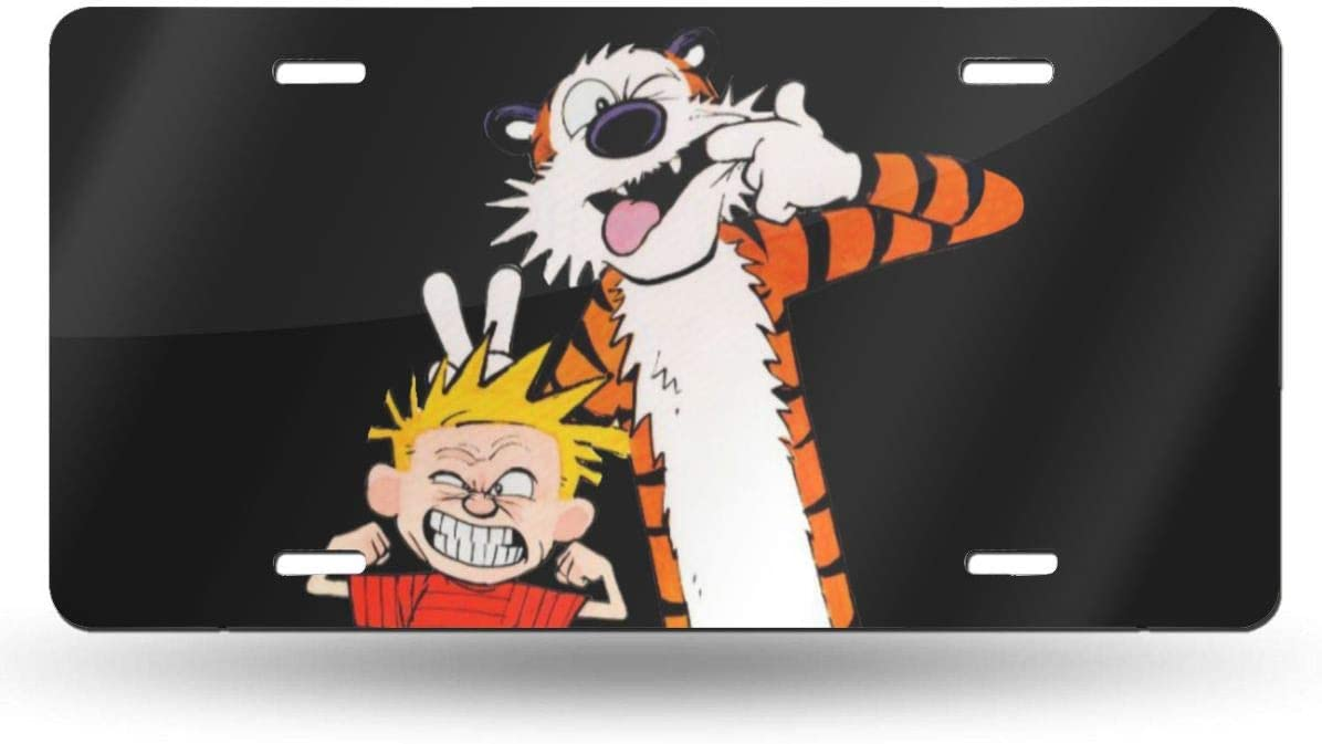Hhill Swater Calvin and Hobbes Fashion Personality Car Tag- Front License Plate Vanity Tag, Car License Plate, Art Plate 6x12inch
