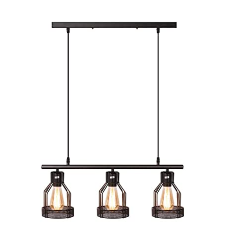 Black Pendant Lighting 3 Light Kitchen Island Light Fixtures Rustic Cage Industrial Chandelier For Bar Dinning Room