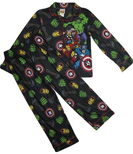 The Avengers Boys' Flannel 2-Piece Pajama Set, Black