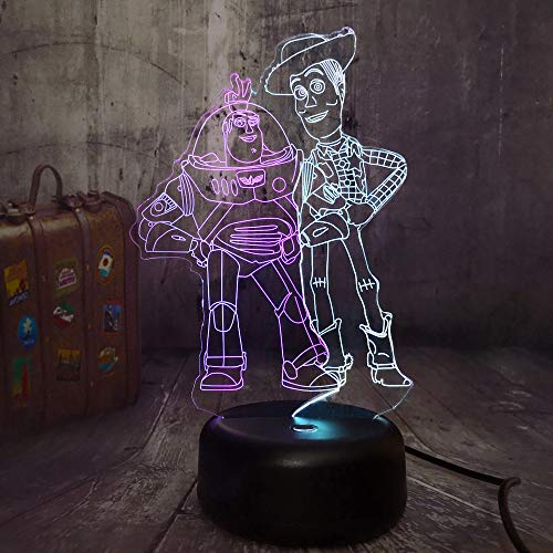 New Toy Story Buzz Lightyear Woody 3D LED RGB Mixed Dual Color Night Light 7 Color Change Table Lamp Remote Child Kids Christmas Gift Home Decor(Mix Toy -