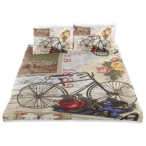 - OSBLI Bedding Duvet Cover Set 3 Pieces Paris Eiffel Tower Vintage Bike Art Bed Sheets Sets and 2 Pillowcase for Teens