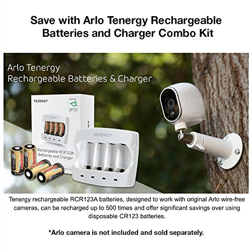 Arlo Certified: Tenergy 3.7V Arlo Battery Fast Charger and 650mAh RCR123A Li-ion Rechargeable Batteries for Arlo Wireless Security Cameras (VMC3030/VMK3200/VMS3330/3430/3530),UL UN Certified, 8-Pack