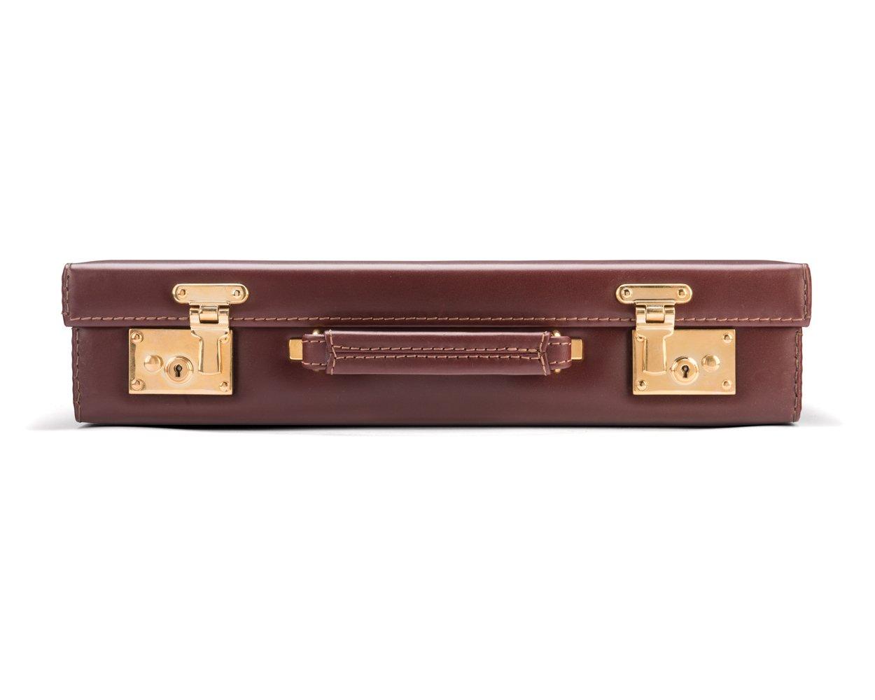 SAGEBROWN Dark Tan Calf Knightsbridge Attache Case With Brass Locks
