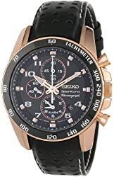 "Seiko Men's SNAE80 ""Sportura"" Rose Gold Ion-Plated Stainless Steel and Black Leather Watch"