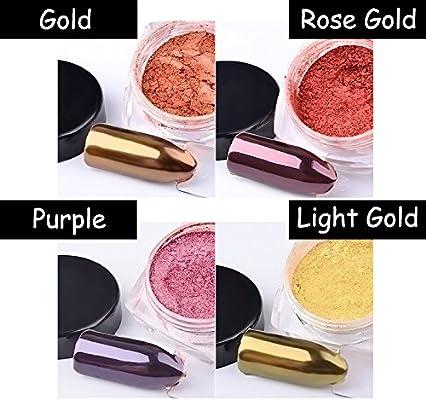 eb84be595a MIOBLET 4 Box Shiny Rose Gold / Purple / Gold / Light Gold Mirror Effect  Nail Glitter Powder Mirror Chrome Powder Dust Nails Art Pigment DIY Nail ...