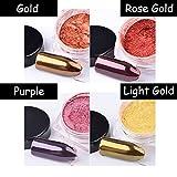 MIOBLET 4 Box Shiny Rose Gold / Purple / Gold / Light Gold Mirror Effect Nail Glitter Powder Mirror Chrome Powder Dust Nails Art Pigment DIY Nail Decoration Manicure