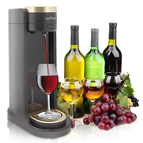 Automatic Compact Beverage Dispenser - Portable Electric Automatic Wine Dispenser - Wine Aerator Pump Alcoholic Drink Server - Easy Flow, Battery Powered Liquor Operating System Countertop, Party, Bar More - NutriChef PKWNARDS38