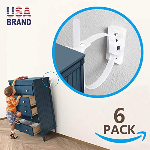 6 Sets Furniture Straps Baby Proofing Wall Anchors, Anti Tip Furniture Kit Wall Straps Anchor Furniture to Wall Keeping Baby Pet Safety from Falling Furniture, Adjustable Nylon Earthquake Straps