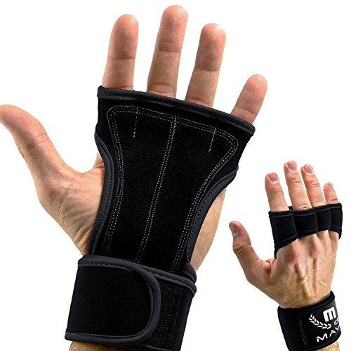 Mava Sports Weight Training Gloves for Men & Women no Calluses & Blisters (Black) ()