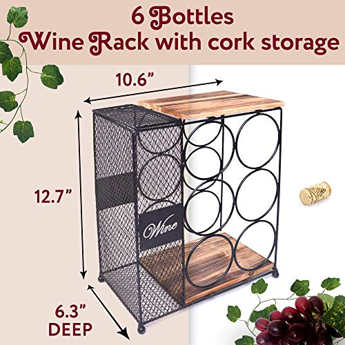 6 Bottle Wine Rack with Cork Storage Store Red, White, Champagne - Counter Wine Holder for Home & Kitchen Décor - Decorative Countertop Wine Holder Storage Rack -Designed by Anna Stay