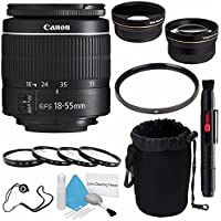 Canon EF-S 18-55mm f/3.5-5.6 III Lens (International Model no Warranty) + 58mm 2x Telephoto Lens + 58mm Wide Angle Lenses + 58mm Macro Close Up Kit + 58mm UV Filter 6AVE Bundle 5
