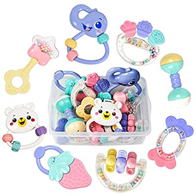 Baby Rattles, Baby Toys, Grab Toys, Shaking Bell Rattles Teether Set with Storage Box for 0,3,6,8,10,12,18 Month Old Infant, Newborn Baby, Candy Colors - Tumama by Tumama that we recomend individually.