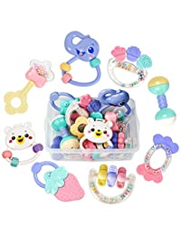 Tumama 8pcs Baby Rattles Teethers Set, Grab Toys, Shaking Bell Rattle Set with Storage Box for Infant, Newborn Baby, Toddler, Candy Colors BOBEBE Online Baby Store From New York to Miami and Los Angeles
